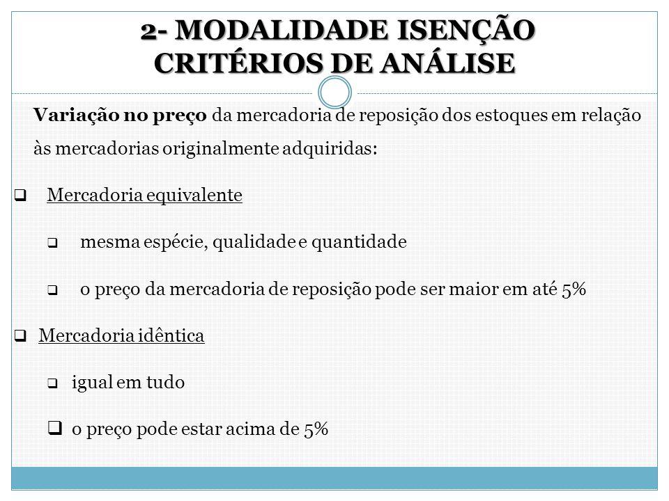2- MODALIDADE ISENÇÃO CRITÉRIOS DE ANÁLISE