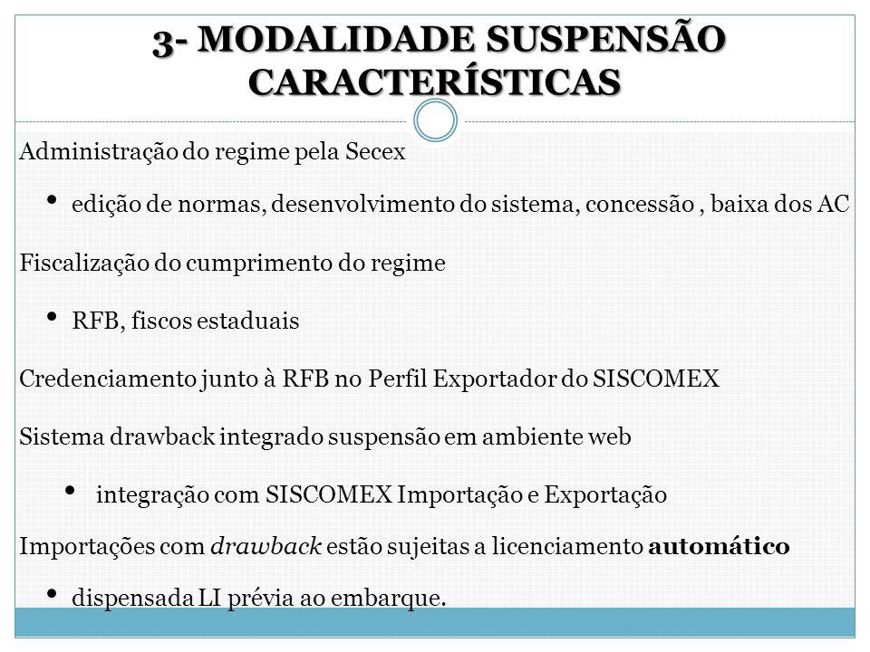3- MODALIDADE SUSPENSÃO CARACTERÍSTICAS