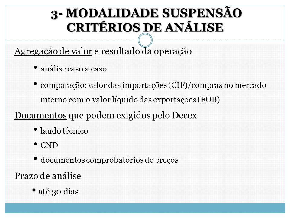 3- MODALIDADE SUSPENSÃO CRITÉRIOS DE ANÁLISE