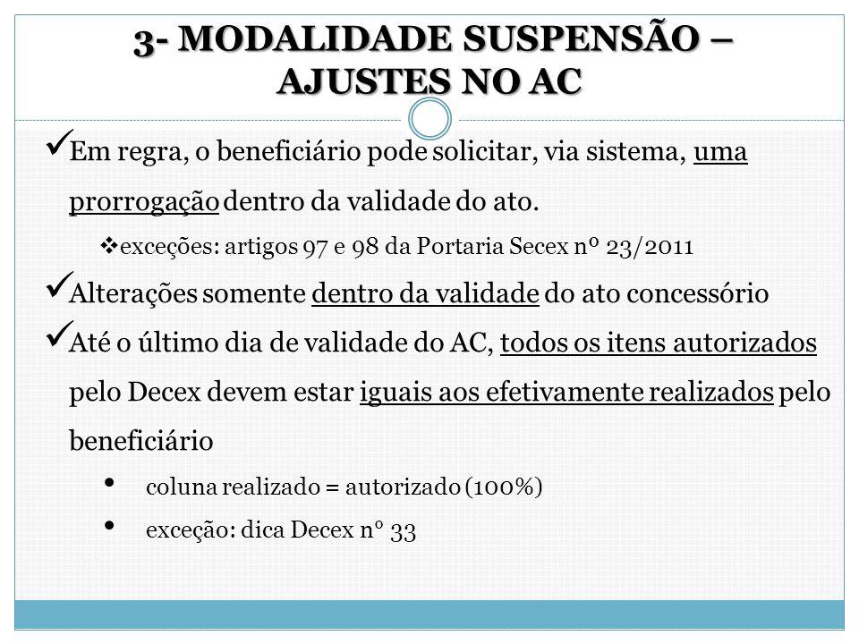 3- MODALIDADE SUSPENSÃO – AJUSTES NO AC