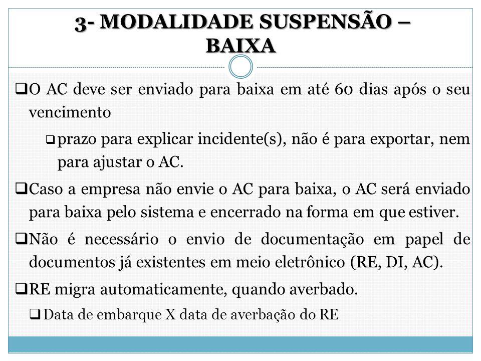 3- MODALIDADE SUSPENSÃO – BAIXA