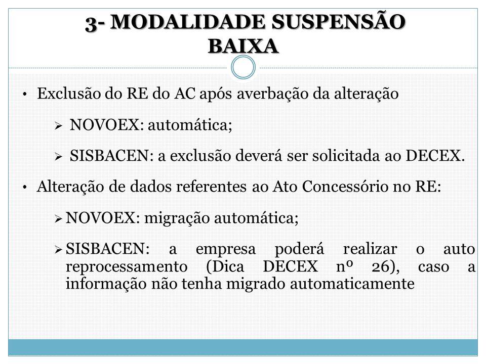 3- MODALIDADE SUSPENSÃO BAIXA