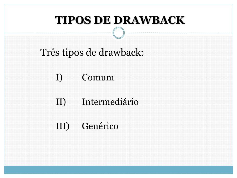TIPOS DE DRAWBACK Três tipos de drawback: I) Comum II) Intermediário