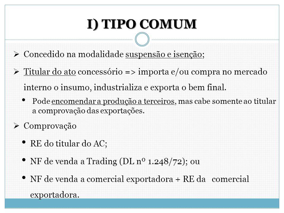 I) TIPO COMUM Concedido na modalidade suspensão e isenção;