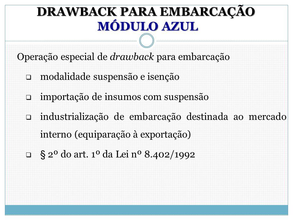 DRAWBACK PARA EMBARCAÇÃO MÓDULO AZUL