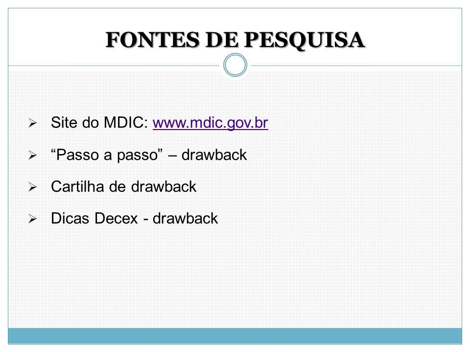FONTES DE PESQUISA Site do MDIC: www.mdic.gov.br