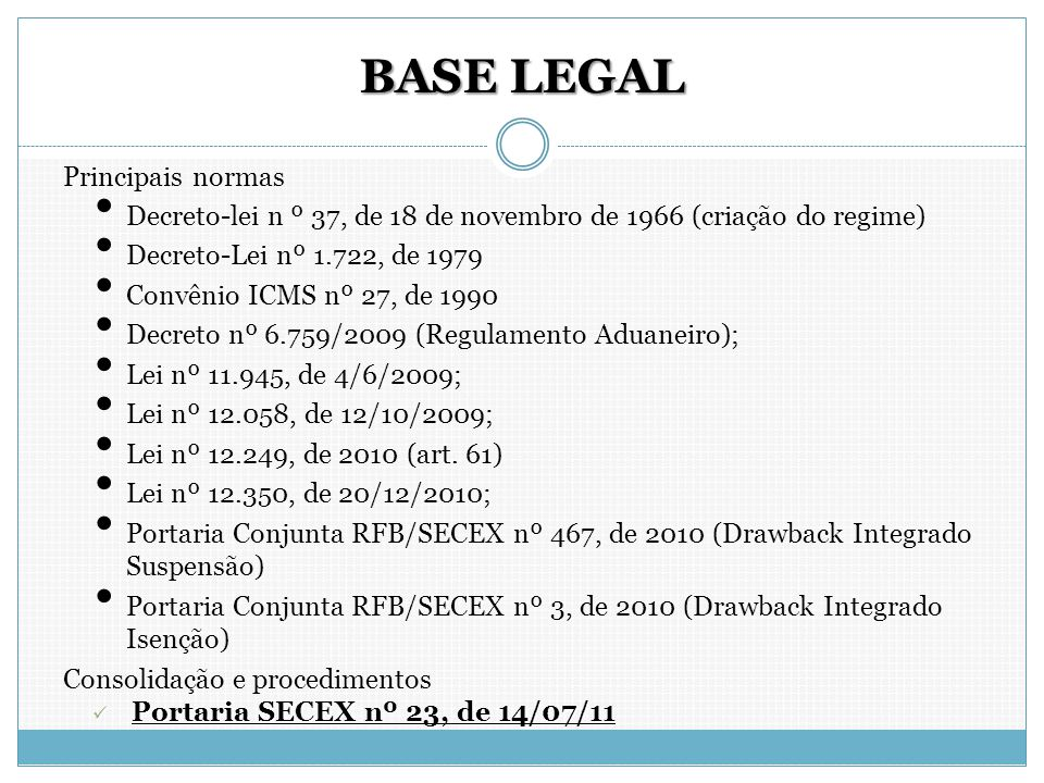 BASE LEGAL Principais normas