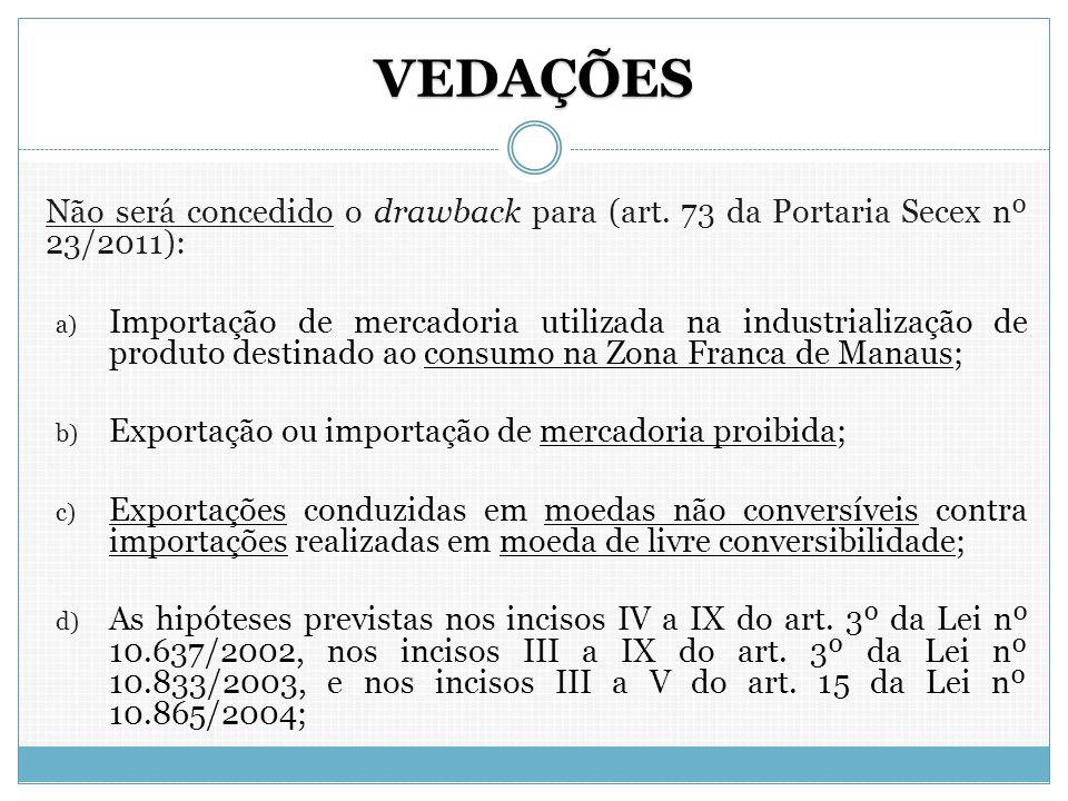 VEDAÇÕES Não será concedido o drawback para (art. 73 da Portaria Secex nº 23/2011):