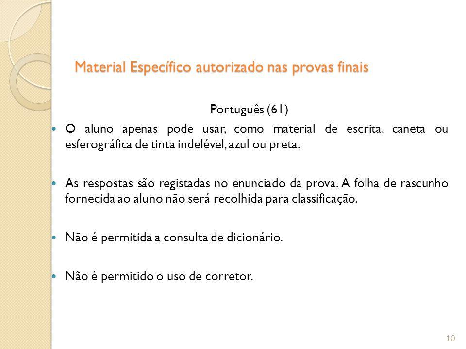 Material Específico autorizado nas provas finais
