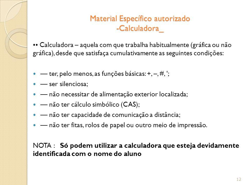 Material Específico autorizado -Calculadora_