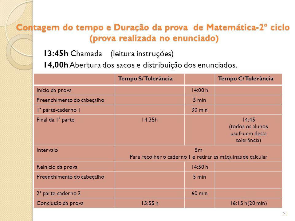 Contagem do tempo e Duração da prova de Matemática-2º ciclo (prova realizada no enunciado)
