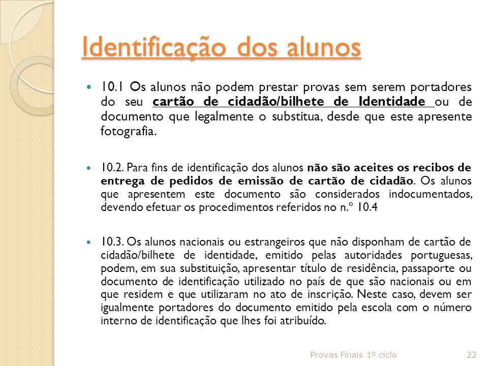 Identificação dos alunos
