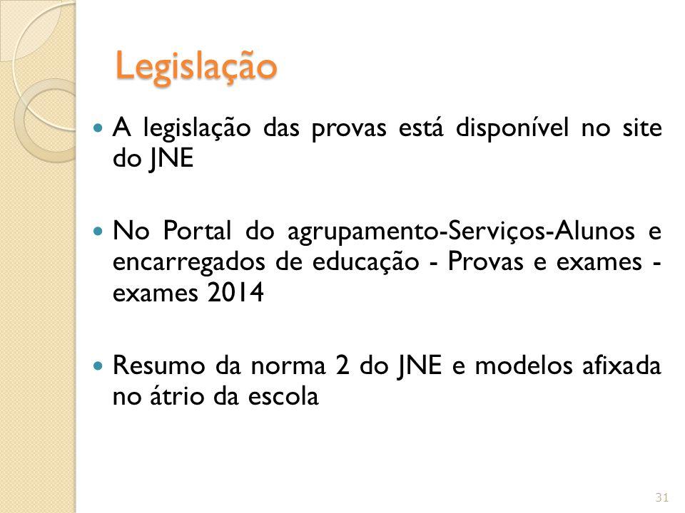 Legislação A legislação das provas está disponível no site do JNE