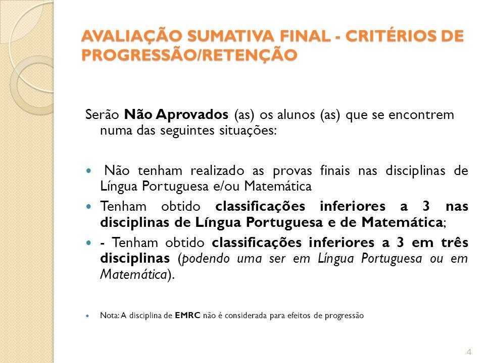 AVALIAÇÃO SUMATIVA FINAL - CRITÉRIOS DE PROGRESSÃO/RETENÇÃO
