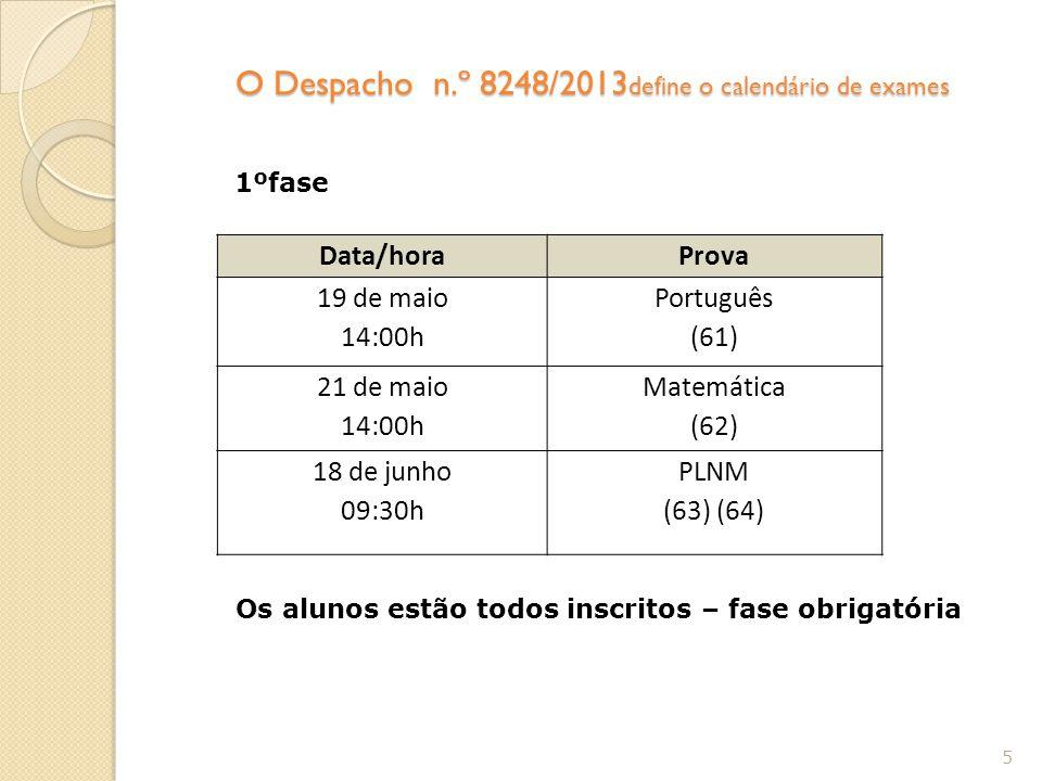 O Despacho n.º 8248/2013define o calendário de exames