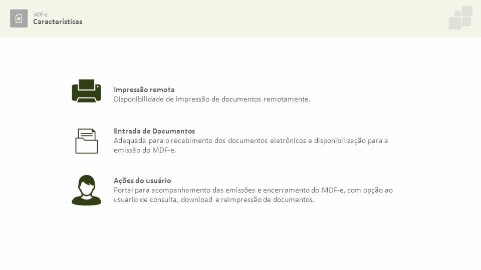 Características Impressão remota Disponibilidade de impressão de documentos remotamente. Entrada de Documentos.