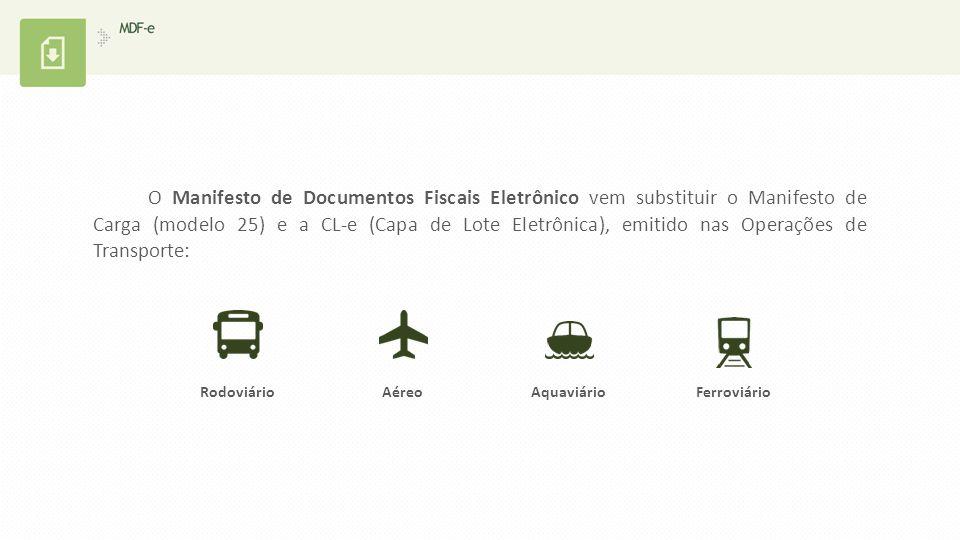 O Manifesto de Documentos Fiscais Eletrônico vem substituir o Manifesto de Carga (modelo 25) e a CL-e (Capa de Lote Eletrônica), emitido nas Operações de Transporte: