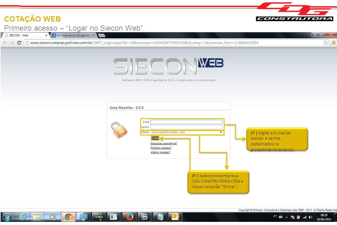 Primeiro acesso – Logar no Siecon Web .