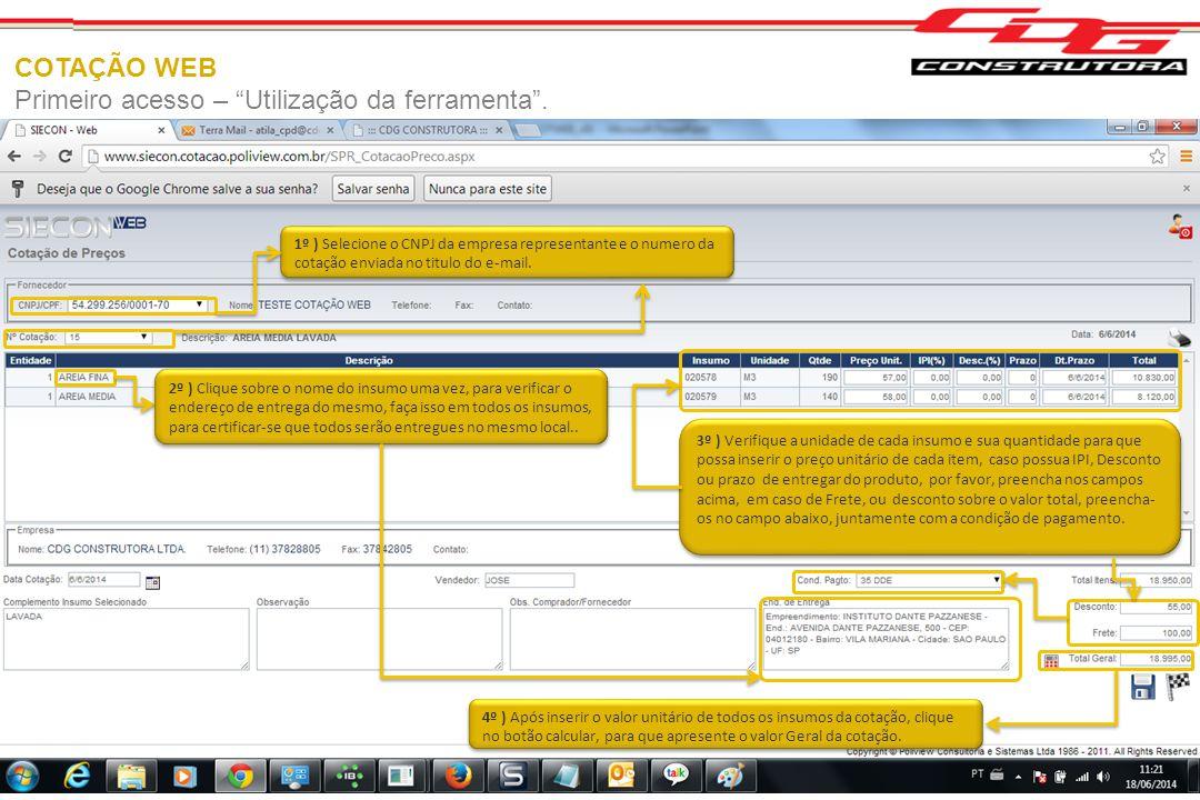 Primeiro acesso – Utilização da ferramenta .