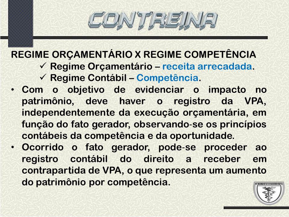 REGIME ORÇAMENTÁRIO X REGIME COMPETÊNCIA