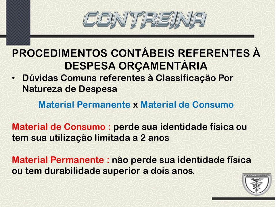 PROCEDIMENTOS CONTÁBEIS REFERENTES À DESPESA ORÇAMENTÁRIA