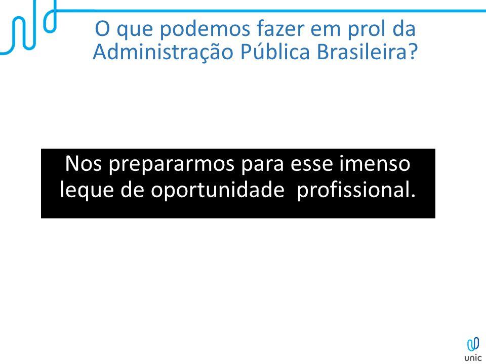 O que podemos fazer em prol da Administração Pública Brasileira