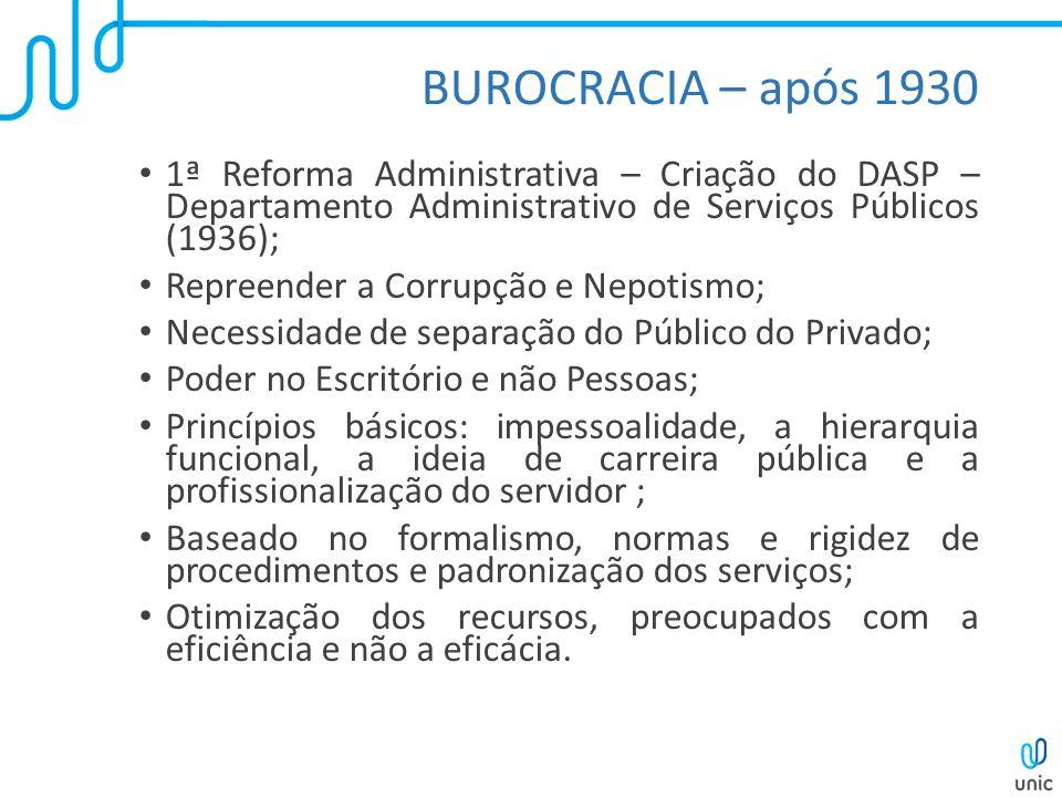 BUROCRACIA – após 1930 1ª Reforma Administrativa – Criação do DASP – Departamento Administrativo de Serviços Públicos (1936);