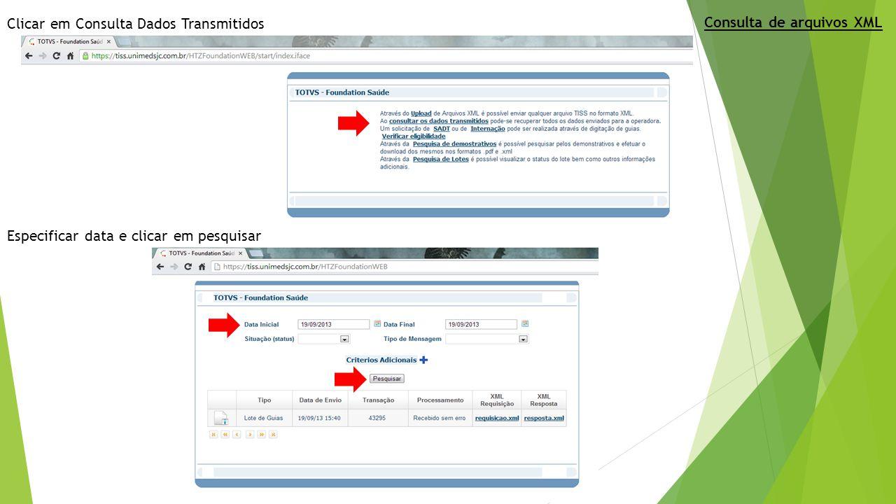 Clicar em Consulta Dados Transmitidos
