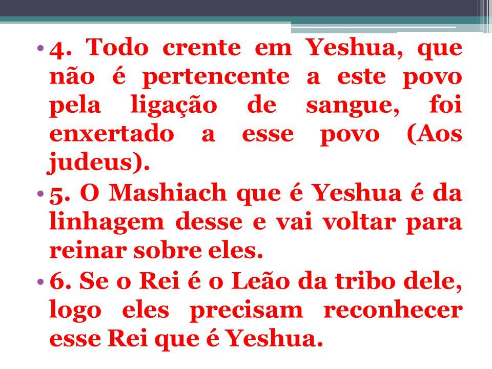 4. Todo crente em Yeshua, que não é pertencente a este povo pela ligação de sangue, foi enxertado a esse povo (Aos judeus).