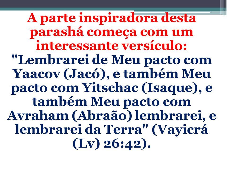 A parte inspiradora desta parashá começa com um interessante versículo: Lembrarei de Meu pacto com Yaacov (Jacó), e também Meu pacto com Yitschac (Isaque), e também Meu pacto com Avraham (Abraão) lembrarei, e lembrarei da Terra (Vayicrá (Lv) 26:42).