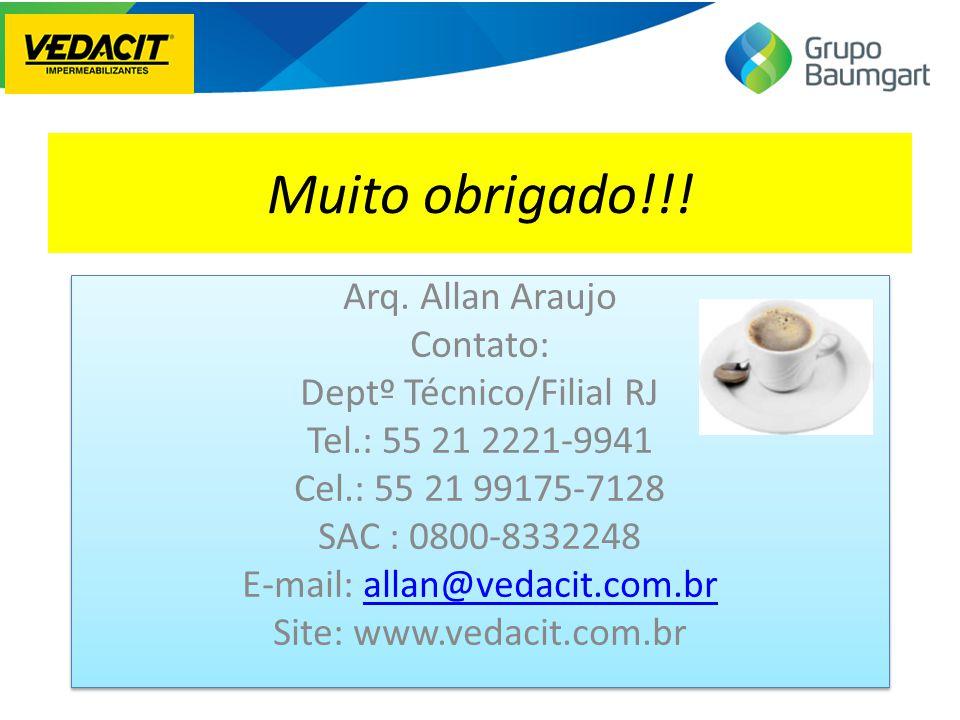 Muito obrigado!!! Arq. Allan Araujo Contato: Deptº Técnico/Filial RJ