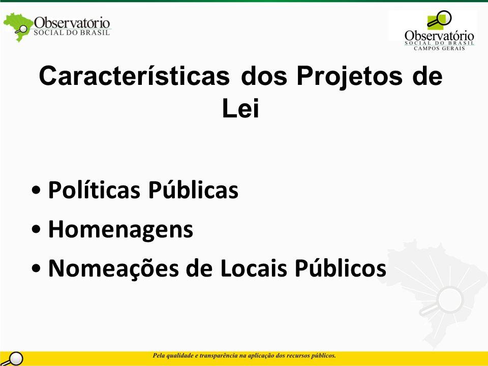 Características dos Projetos de Lei