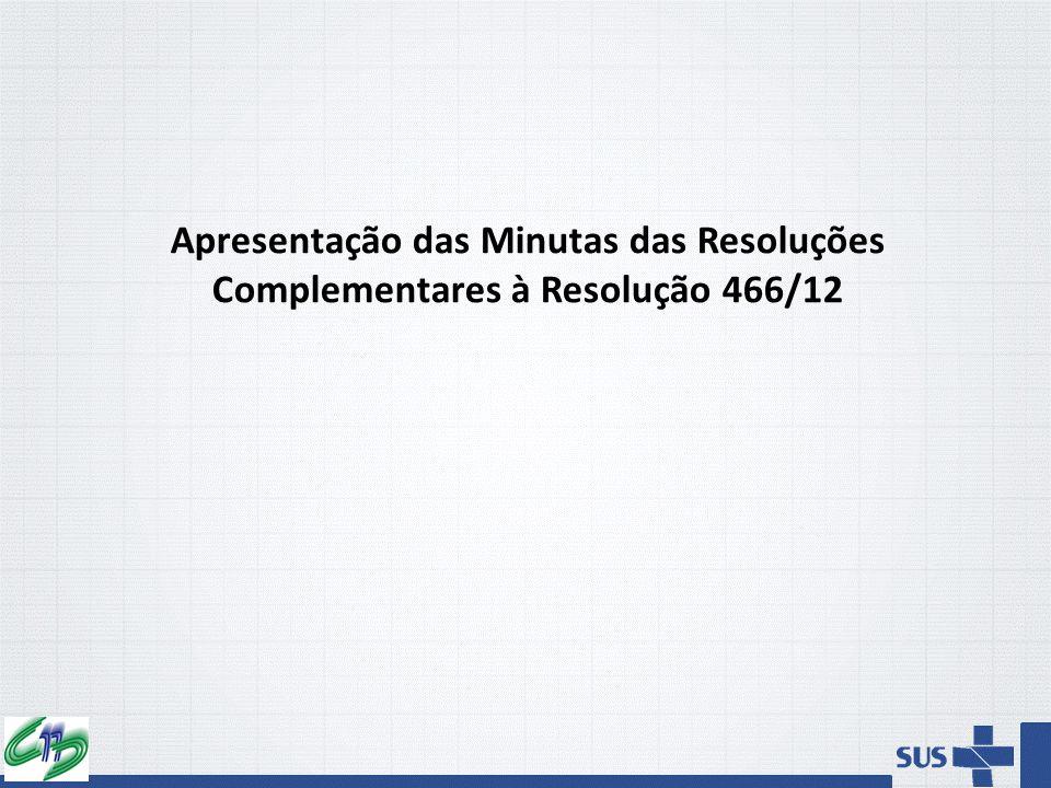 Apresentação das Minutas das Resoluções Complementares à Resolução 466/12