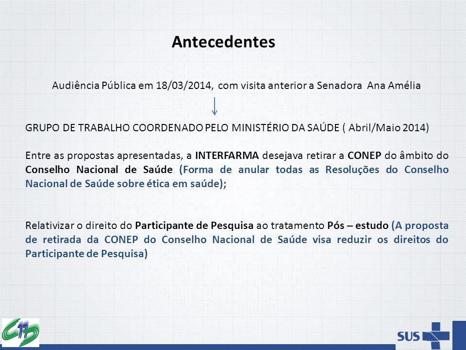 Antecedentes Audiência Pública em 18/03/2014, com visita anterior a Senadora Ana Amélia.