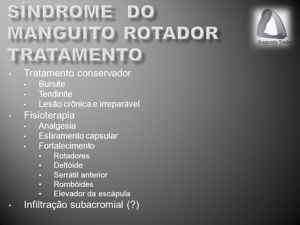Síndrome do manguito rotador tratamento