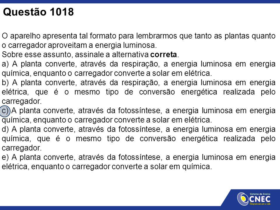 Questão 1018 O aparelho apresenta tal formato para lembrarmos que tanto as plantas quanto o carregador aproveitam a energia luminosa.