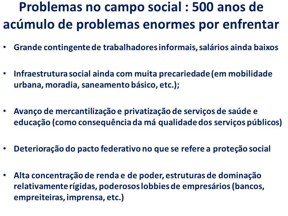 Problemas no campo social : 500 anos de acúmulo de problemas enormes por enfrentar