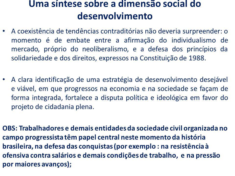 Uma síntese sobre a dimensão social do desenvolvimento