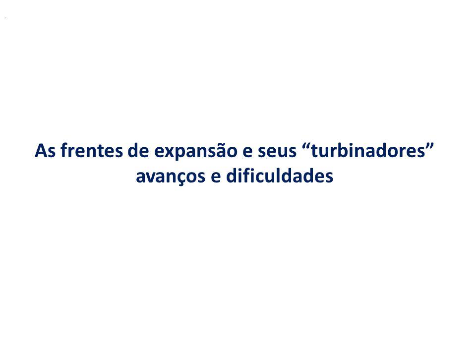 As frentes de expansão e seus turbinadores avanços e dificuldades