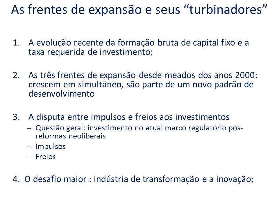 As frentes de expansão e seus turbinadores