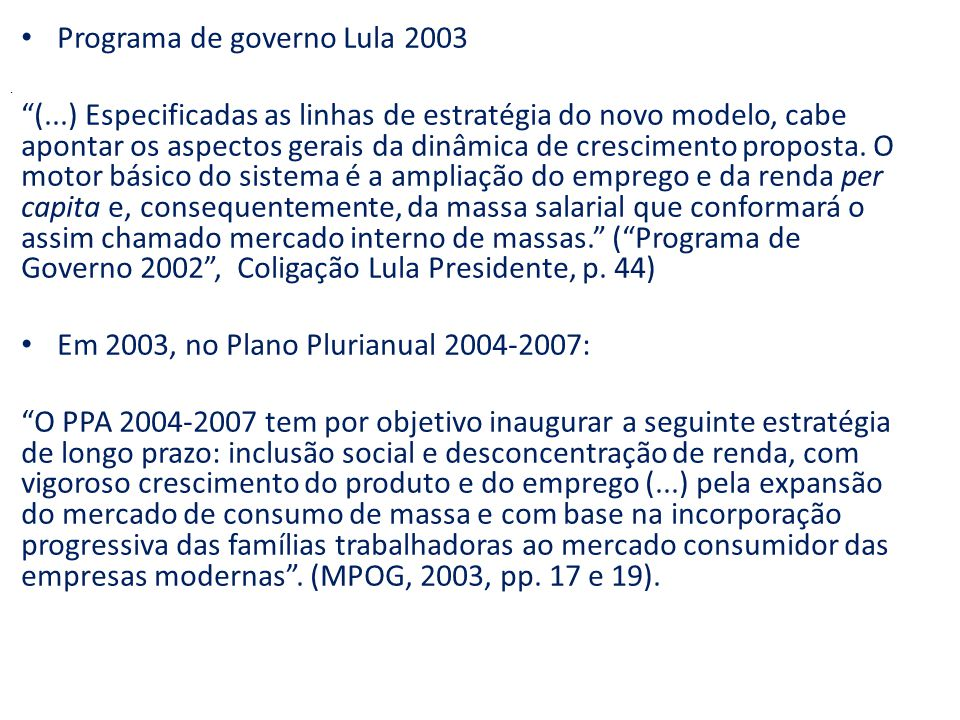 Programa de governo Lula 2003