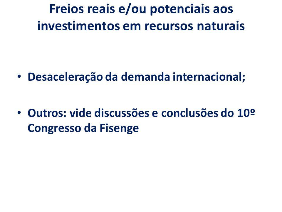 Freios reais e/ou potenciais aos investimentos em recursos naturais