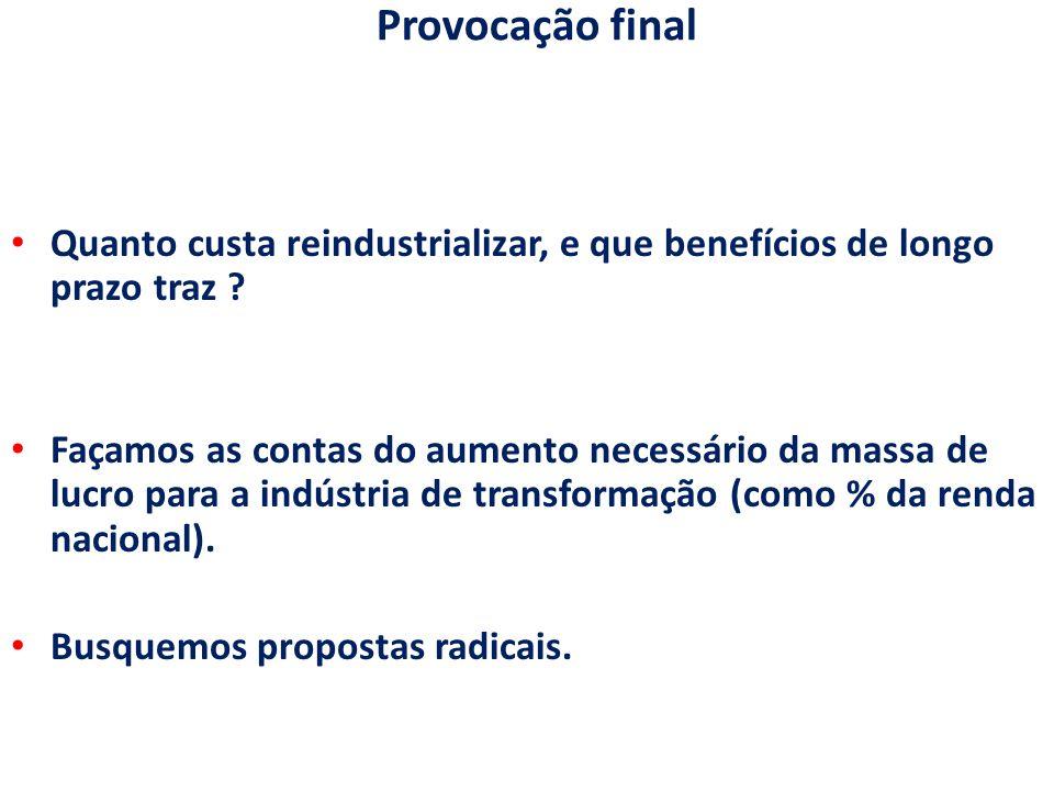 Provocação final Quanto custa reindustrializar, e que benefícios de longo prazo traz