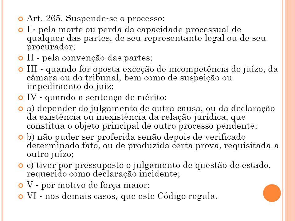 Art. 265. Suspende-se o processo: