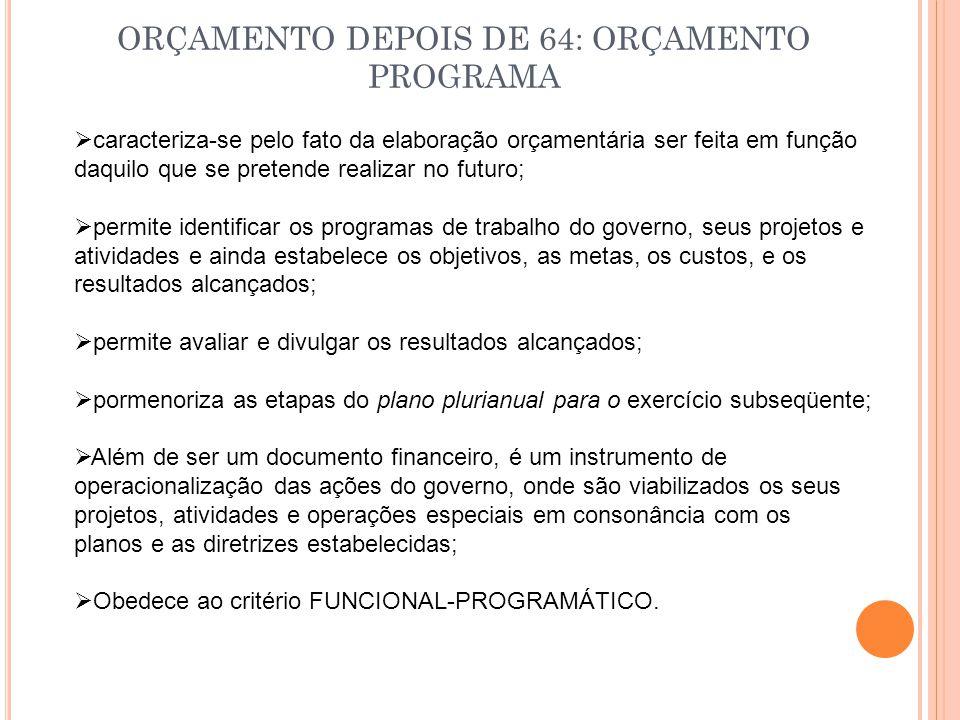 ORÇAMENTO DEPOIS DE 64: ORÇAMENTO PROGRAMA