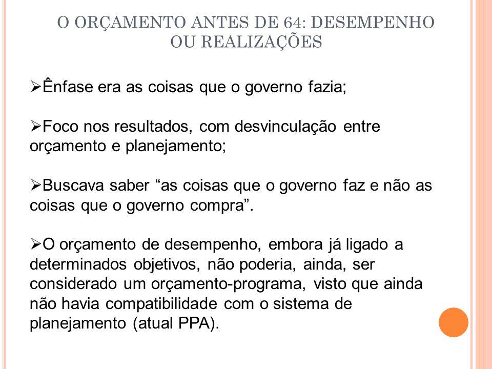 O ORÇAMENTO ANTES DE 64: DESEMPENHO OU REALIZAÇÕES