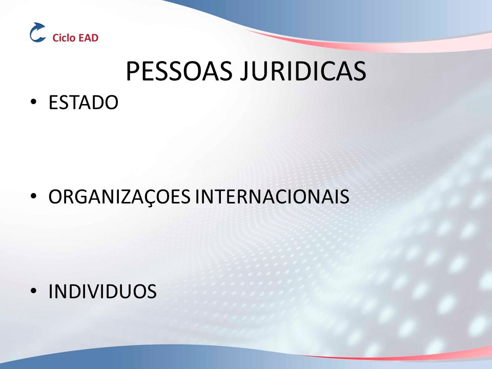 PESSOAS JURIDICAS ESTADO ORGANIZAÇOES INTERNACIONAIS INDIVIDUOS