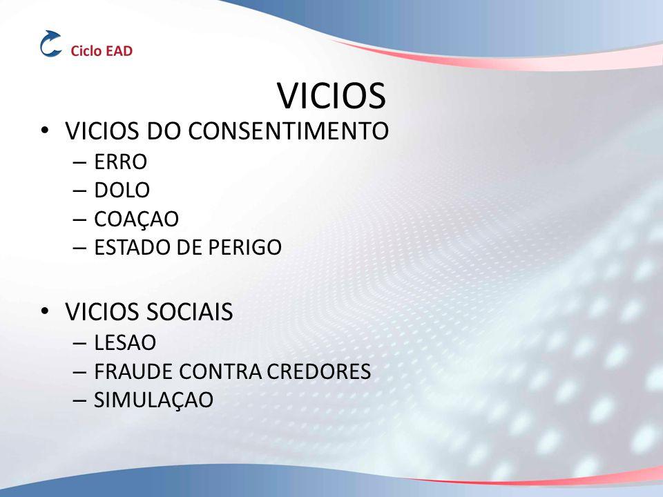 VICIOS VICIOS DO CONSENTIMENTO VICIOS SOCIAIS ERRO DOLO COAÇAO