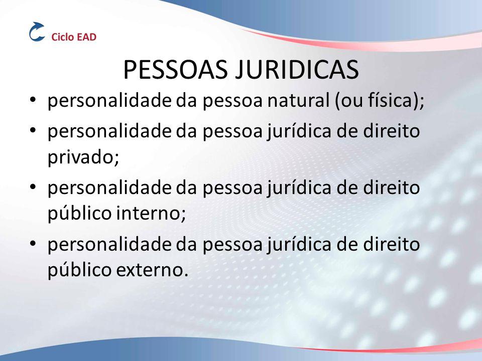 PESSOAS JURIDICAS personalidade da pessoa natural (ou física);
