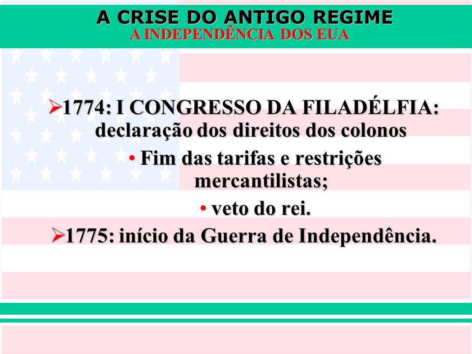 1774: I CONGRESSO DA FILADÉLFIA: declaração dos direitos dos colonos